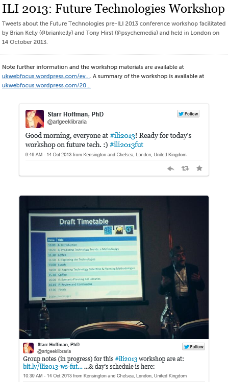 Storify summary of the Futures workshop at the ILI 2013 conference