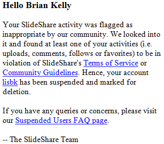 Slideshare account suspended