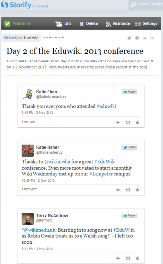 Storify summary of the Eduwiki conference