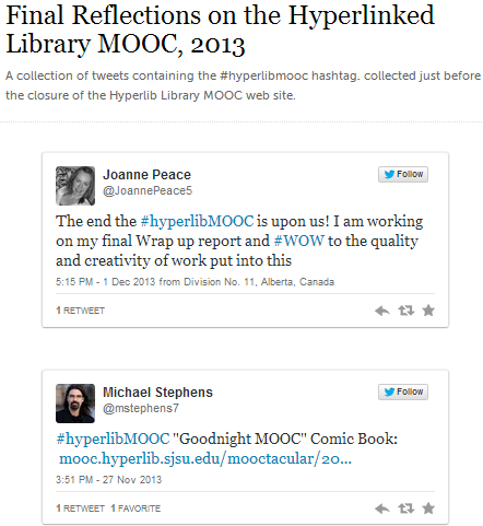 Storify summary of final tweets about the Hyperlib MOOC