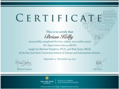MOOC certificate