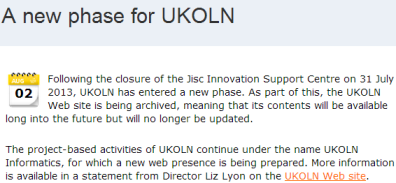 """New phase for UKOLN"""