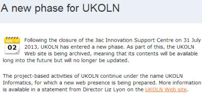 """New phase for UKOLN"""