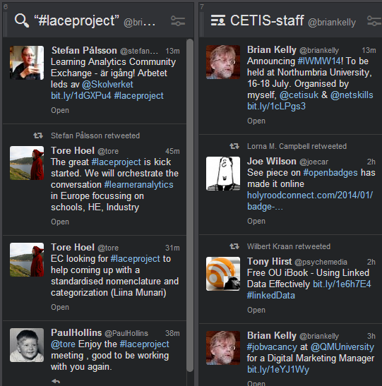 My Cwtis and LACE networks shown in Tweetdeck