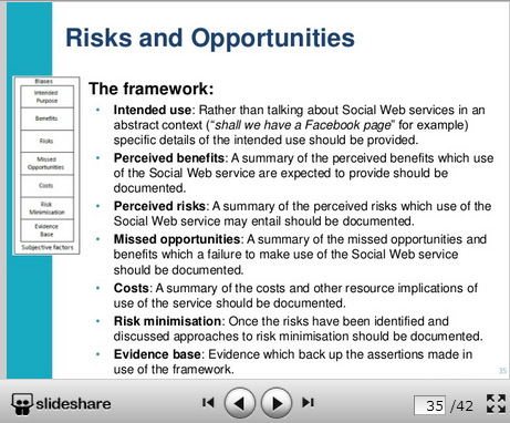 Risks and opportunities framework