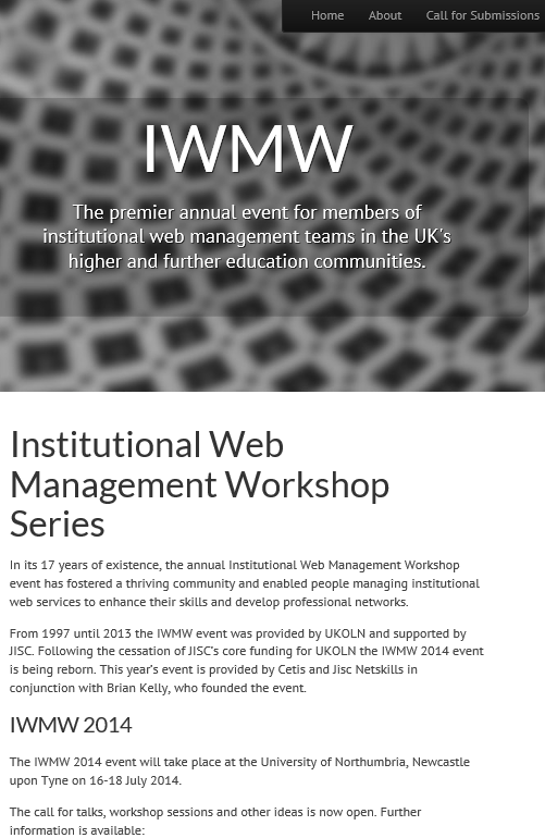 IWMW 2014 Call for Submissions