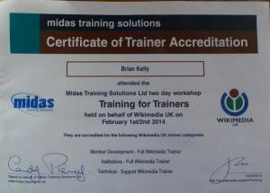 Accredited Wikimedia trainer certificate