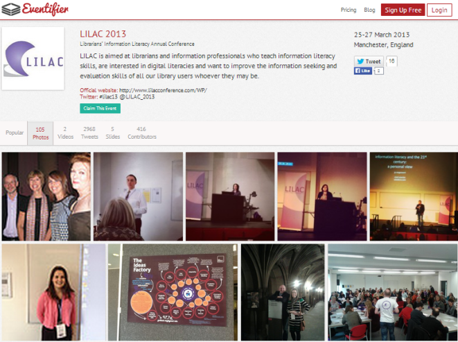 Eventifier archive of LILAC 2013 tweets