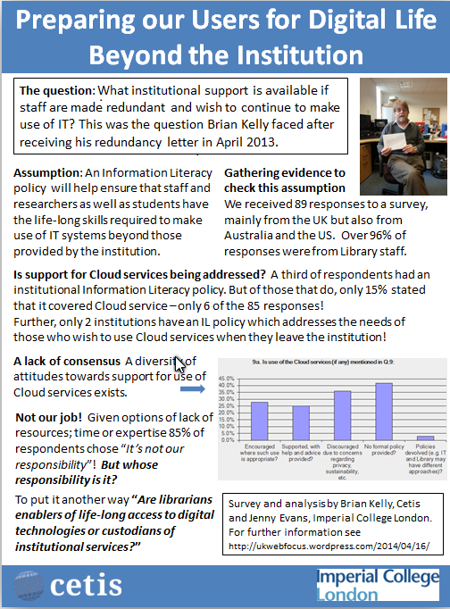 LILAC 2014: Poster on digital literacy and the cloud poster