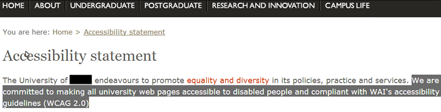 University accessibility statement