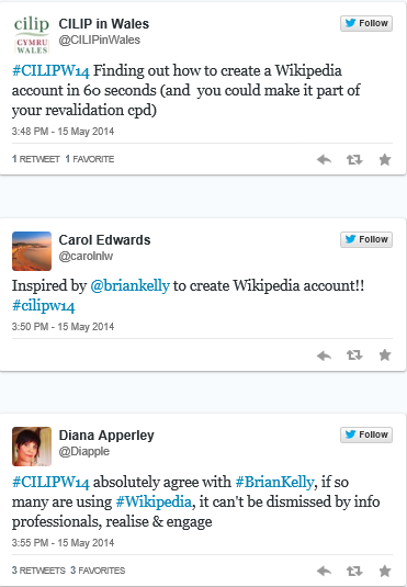Storify summary of cilipw14 twets about Wikipedia talk