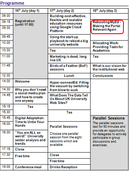 IWMW 2014 programme, with Martin Morrey's talk highlighted