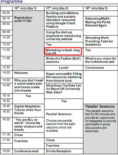 IWMW 2014 programme, with Neil Allison's talk highlighted
