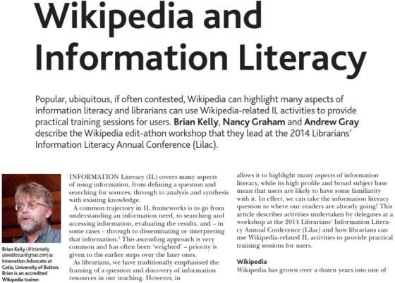 Wikipedia article in CILIP Update