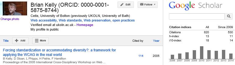 Google Scholar Citations (August 2014)