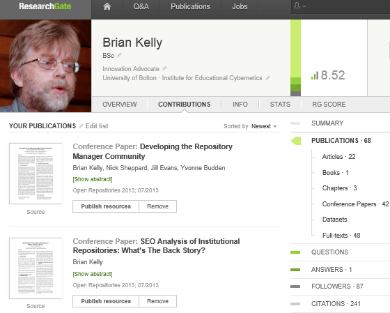 ResearchGate_profile: Brian Kelly