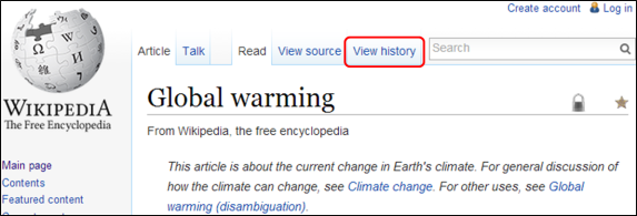 Wikipedia article on Global Warming