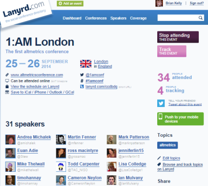 Lanyrd entry for 1:AM altmetrics -conference