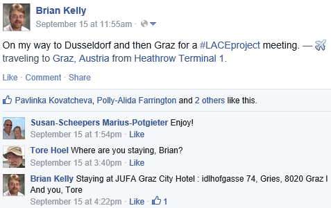 Trip to LACE meeting announced on Facebook