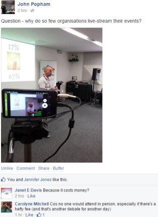 John Popham's Facebook post