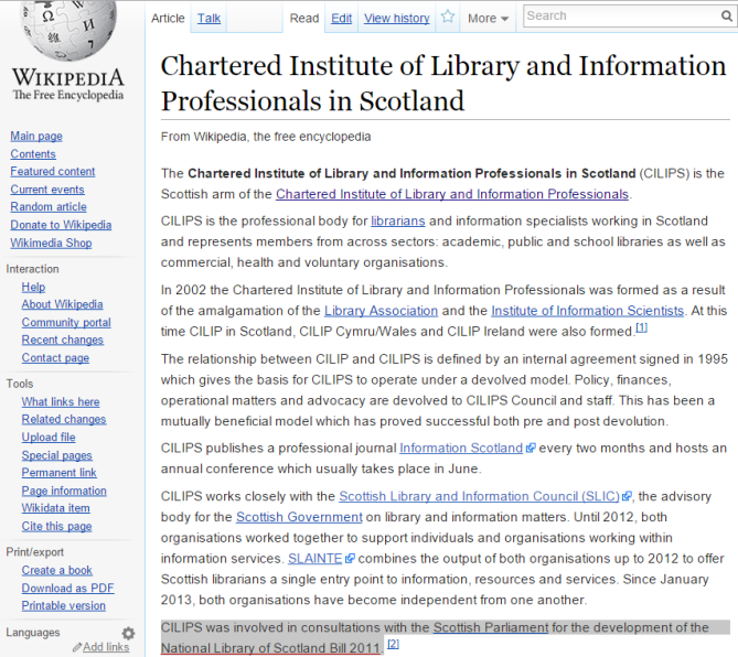 CILIPS Wikipedia article