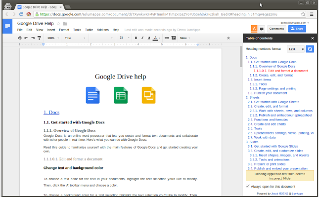 Google Docs: table of contents addon