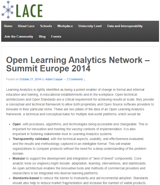 Open learning analytics network summit 2014