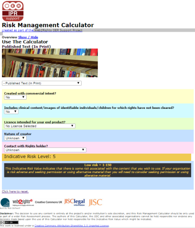 web2rights risk calculator