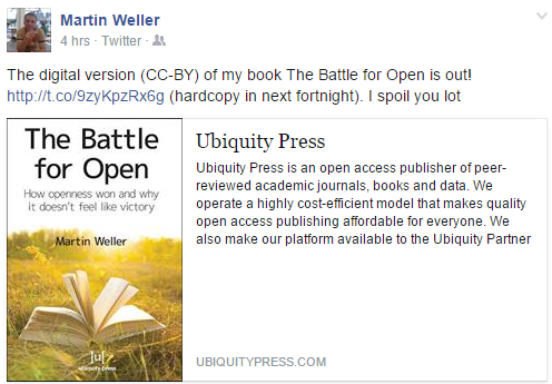 'The Battle For Open' by Martin Weller