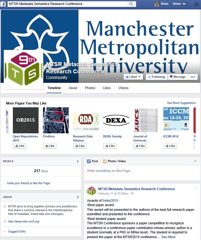 MTSR 2015 Facebook page