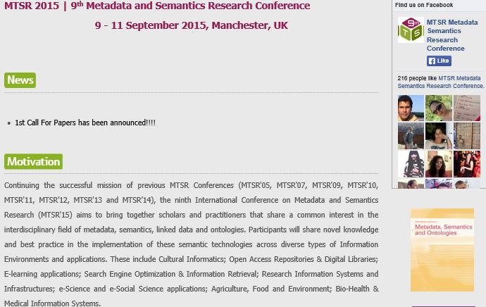 MTSR 2015 conference web site