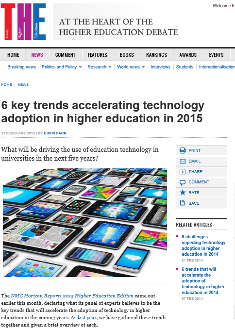 Times Higher Education: technology trends for 2015
