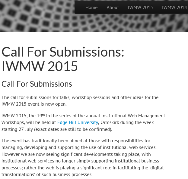 IWMW 2015: Call for Submissions