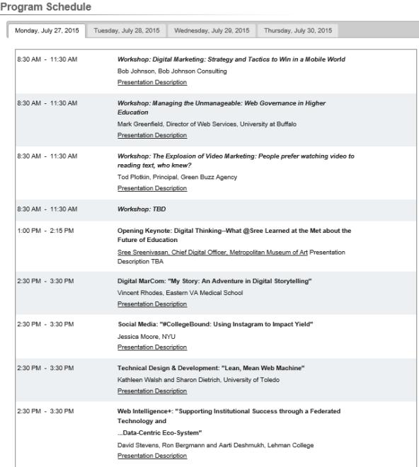 EduWeb 2015 timetable