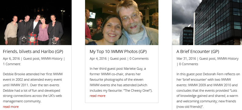 Recent posts on the IWMW blog