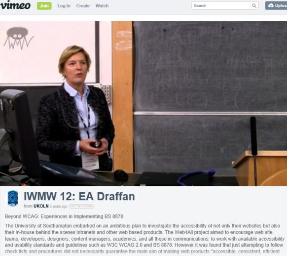 Video recording of EA Draffan