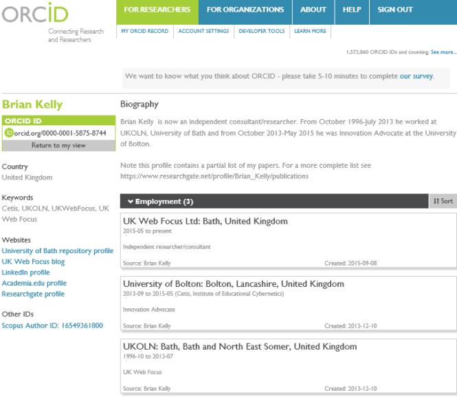 Brian Kelly: ORCID profile