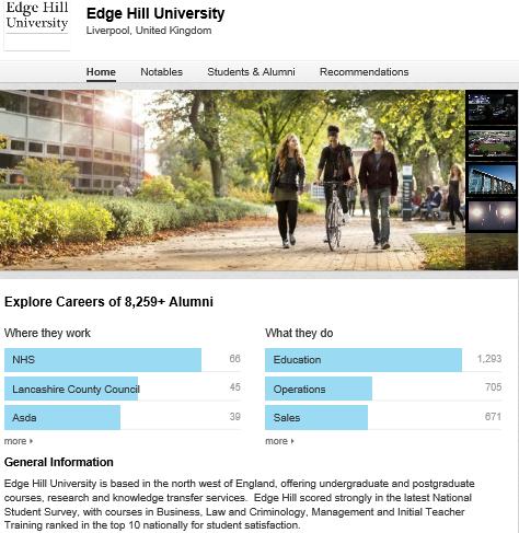 edge hill university: Linkedin-page