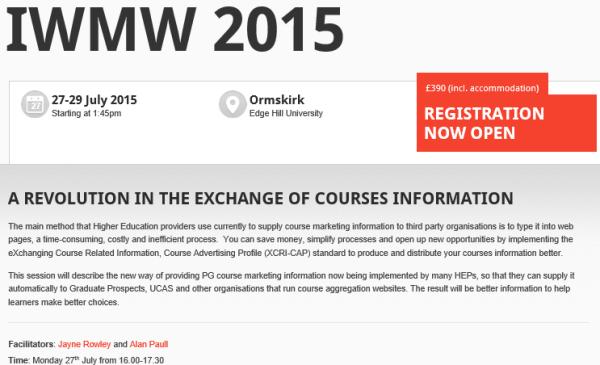 IWMW 2015: exchange of courses information